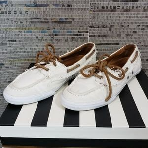 Hunter Size 8F White & Tan Loafer Boat Shoes